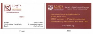 Zonta Business Card