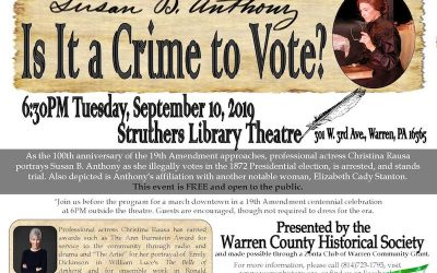 FREE evening of education and fun presentation of Susan B Anthony