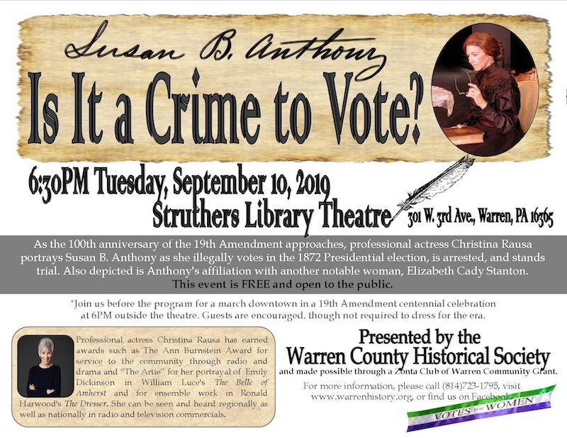 ZC of Warren is sponsoring with the Warren County Historical Society